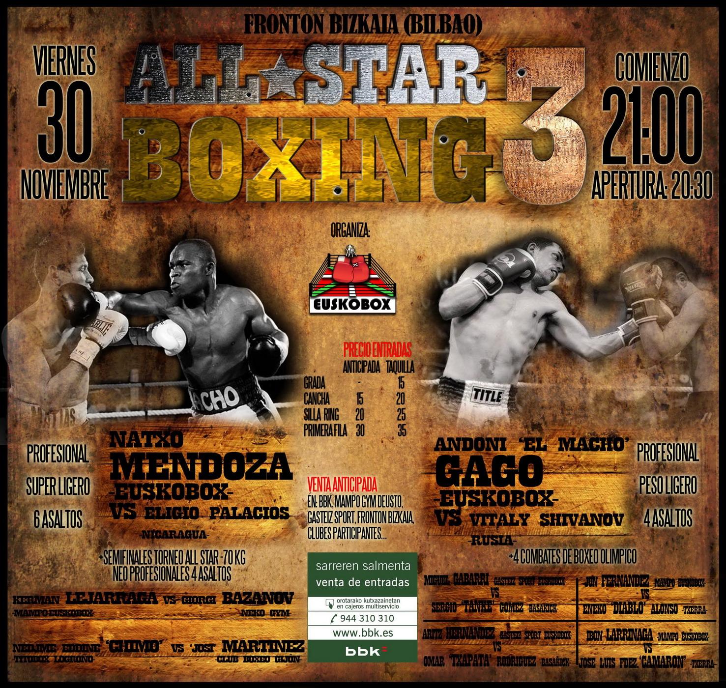 Cartel para boxeo profesional en Bilbao