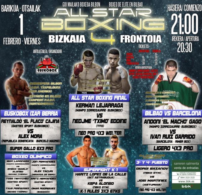 Boxeo Bilbao, cartel Velada Cajina Gago Lejarraga