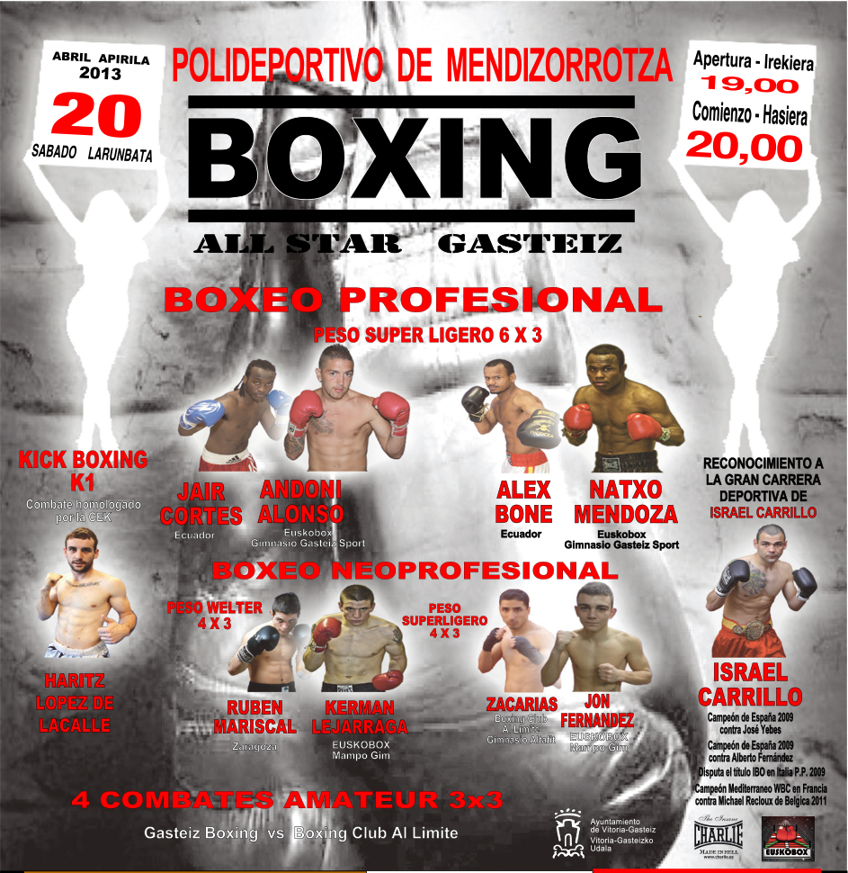 Cartel para velada de boxeo profesional en Vitoria Gasteiz