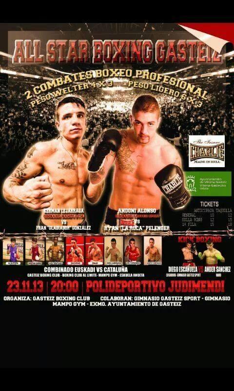 Cartel de la velada de boxeo profesional en el Polideportivo Judimendi de Vitoria - Gasteiz el 23 de noviembre de 2013 en la que boxean los profesionales Andoni Alonso (ligero) y Kerman Lejarraga (welter)