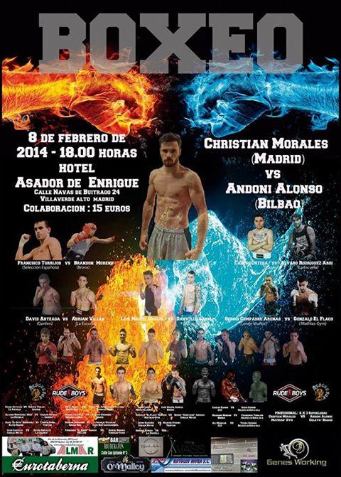 Cartel de la velada de Boxeo del 8 de Febrero en el Hotel Asador Enrique de Villaverde (Madrid).