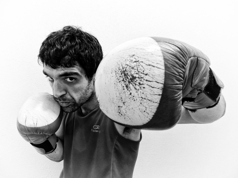 El boxeador Xabier Etxaniz antes de su combate en Getxo