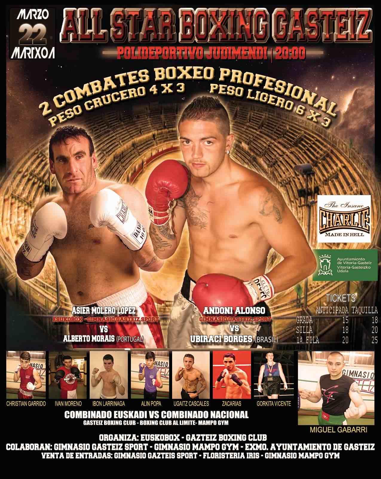 Cartel de la Velada de Boxeo profesional el 22 de marzo en el Polideportivo Judimendi de Vitoria-Gasteiz con Andoni Alonso y Asier Molero.
