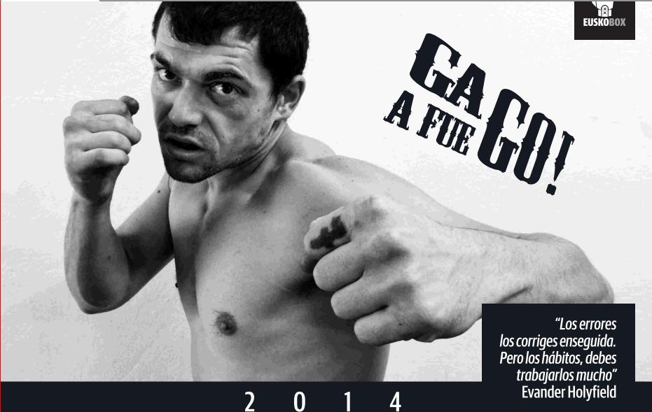 El boxe4ador profesional bilbaino Andoni Gago en el calendario 2014 de EuuskoBox