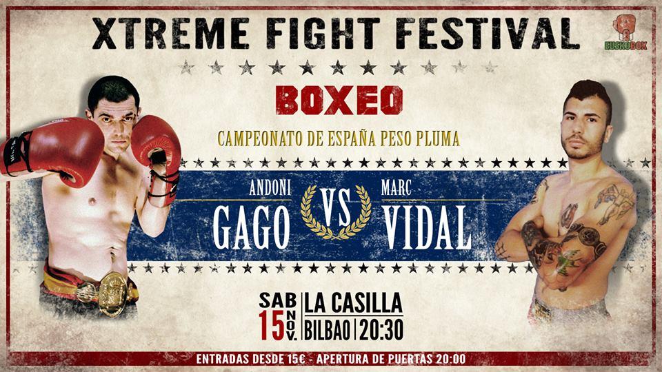 Boxeo profesional: flyer promocional del combate de boxeo del 15 de noviembre de 2014 en Bilbao, defensa voluntaria de su cinturón por parte del campeón de España del peso pluma, Andoni gago, ante el catalán Marc Vidal.