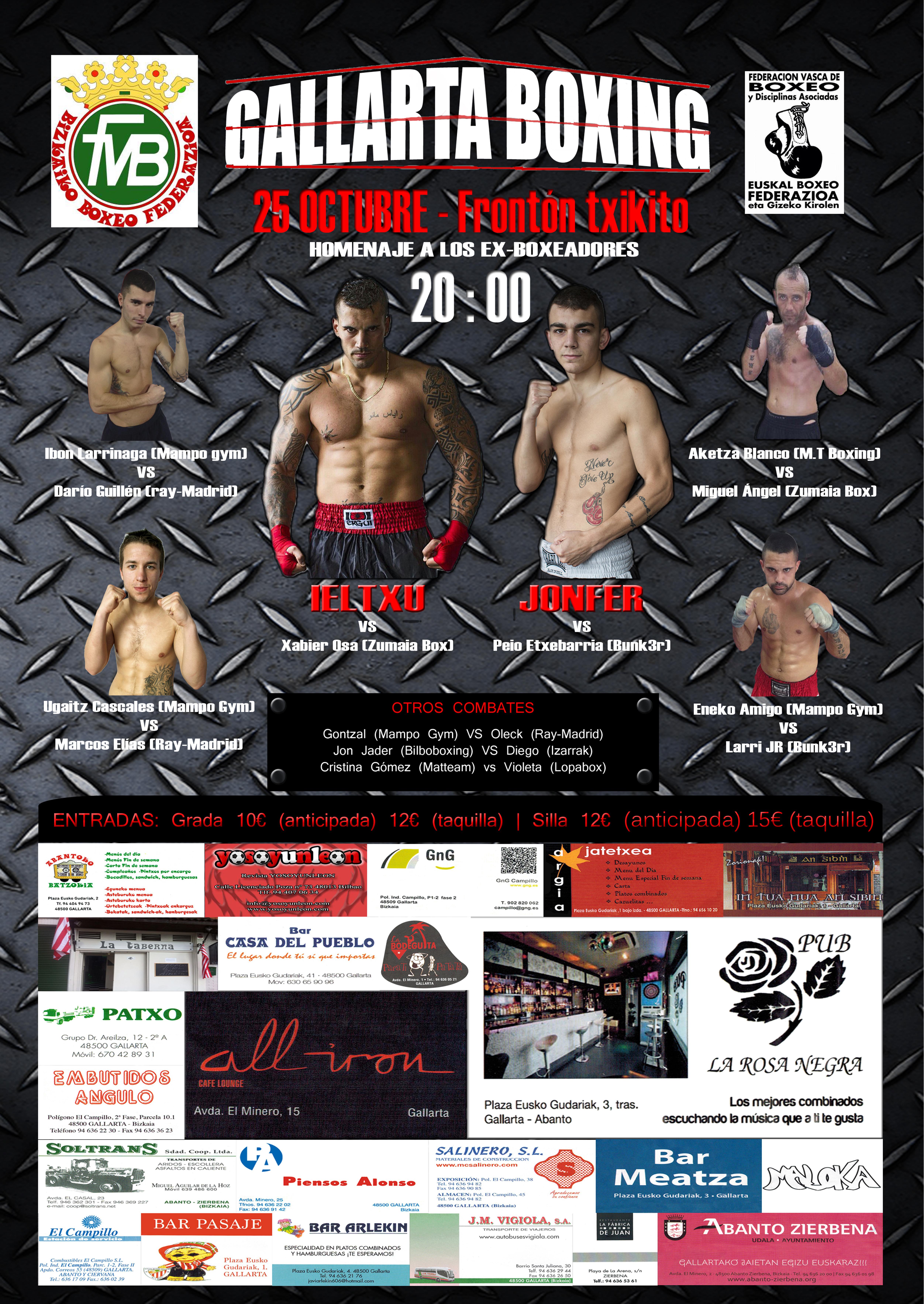 Cartel de la velada de boxeo amateur del 25 de octubre en Gallarta (Bizkaia)