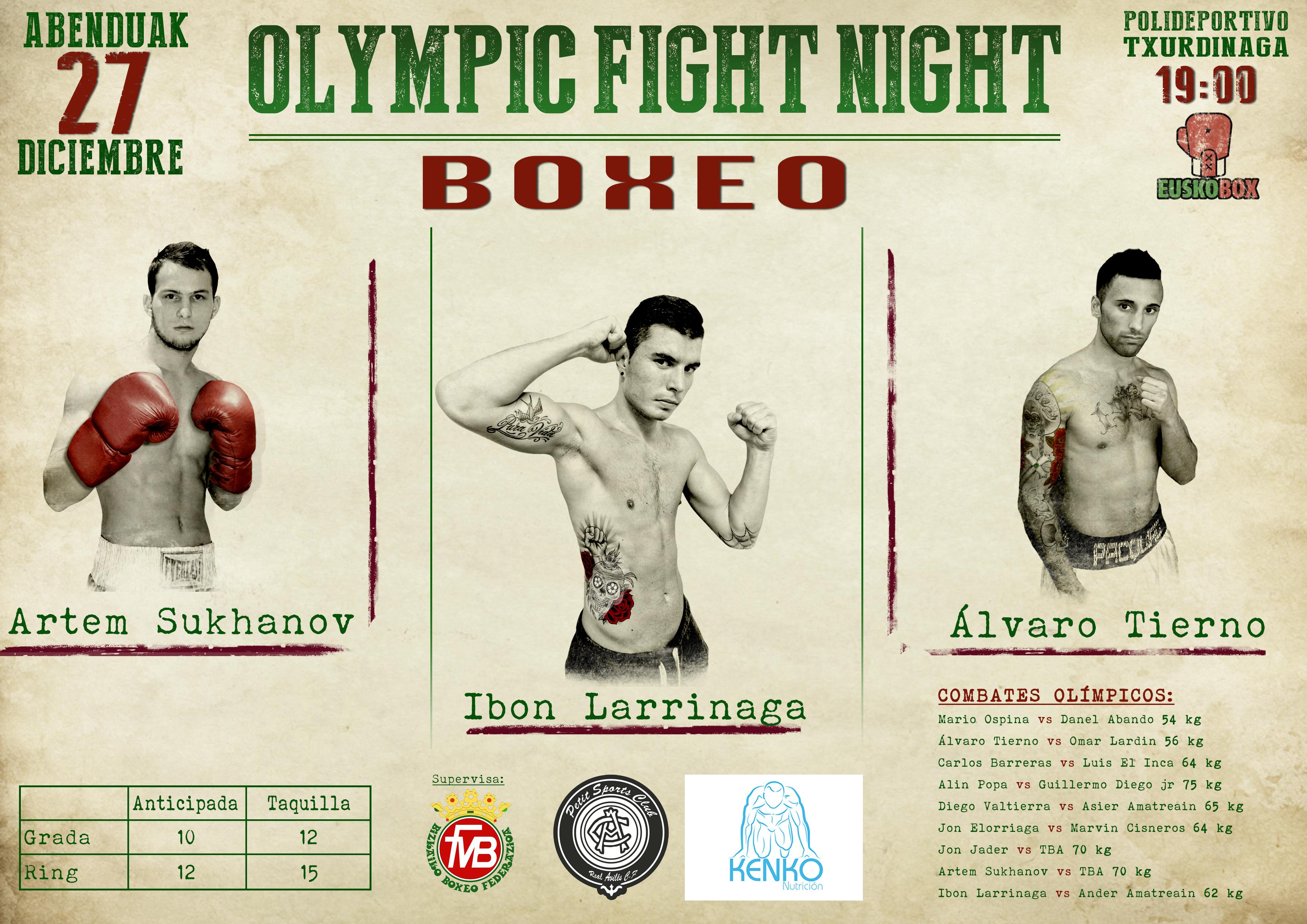Cartel de la velada de boxeo olímpico del 27 de diciembre en el polideportivo de Txurdinaga (Bilbao)