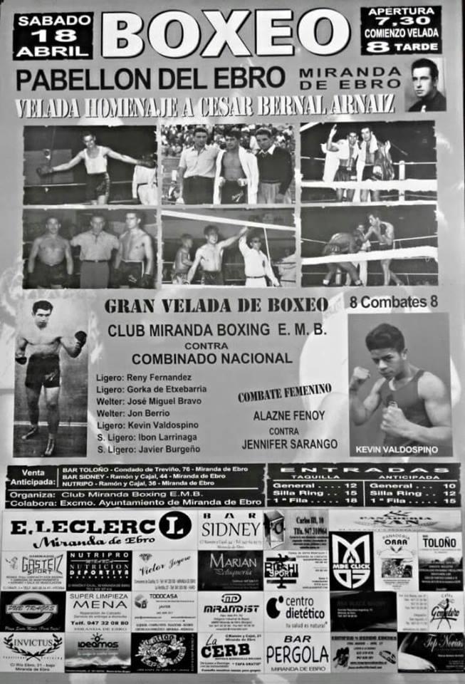 Cartel de la velada de boxeo del sábado 18 de abril en Miranda de Ebro