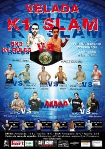 Cartel de la velada del 11 de abril en el Polideportivo de Txurdinaga en el que se programa el combate de Haritz López de Lacalle por el título.