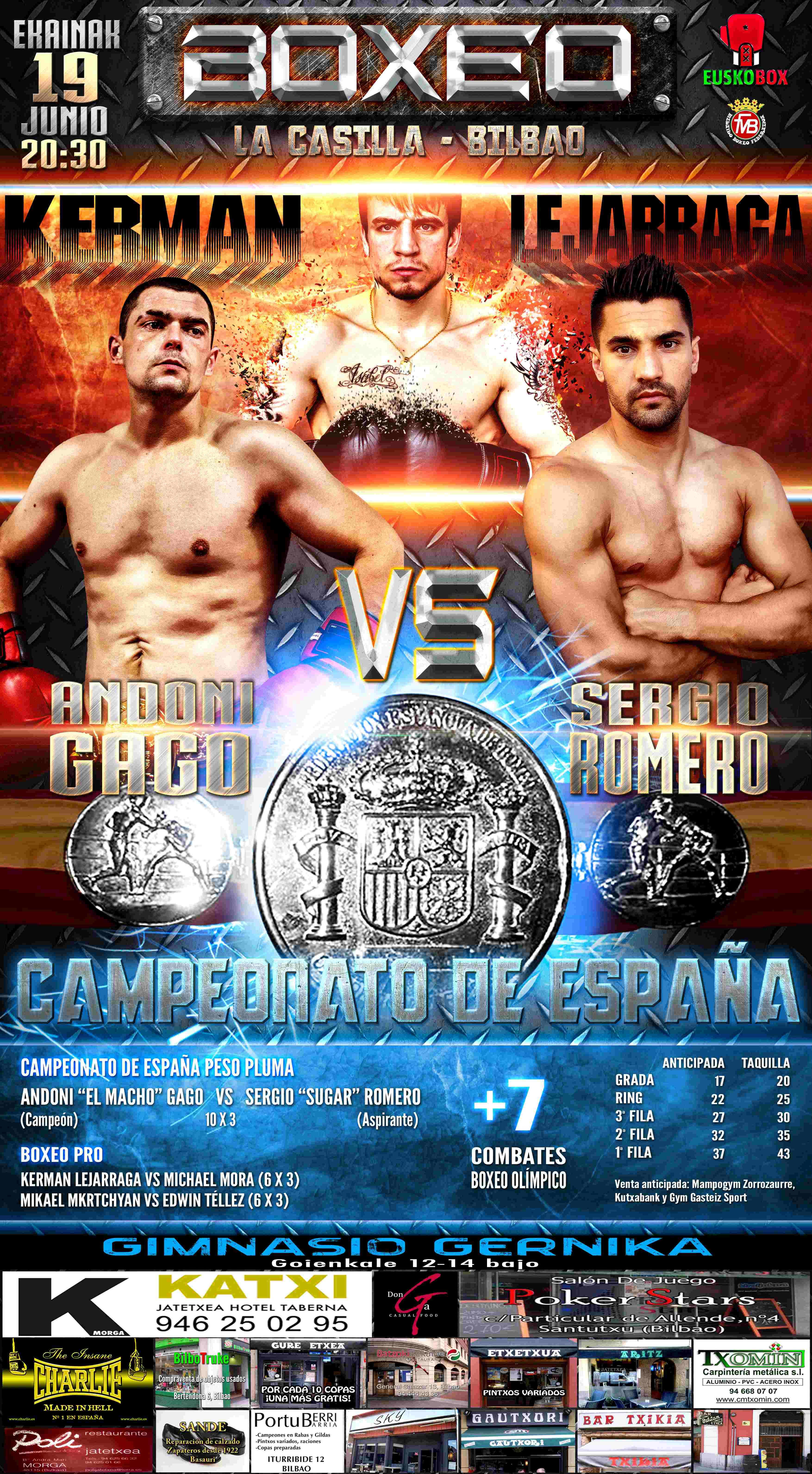 Cartel para velada de boxeo profesional en La Casilla (Bilbao)