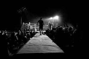 El ring en la velada de boxeo organizada por EuskoBox en Etxebarri Bizkaia, cerca de Bilbao