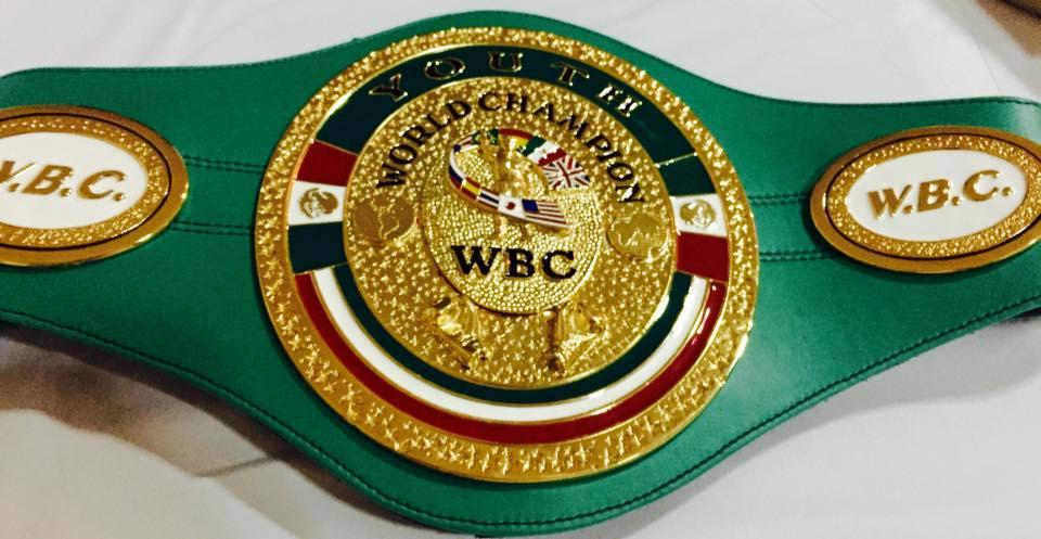 Cinturón del título de boxeo que Jon Fernández disputará: Campeonato del Mundo Junior WBC en Bilbao (La Casilla).