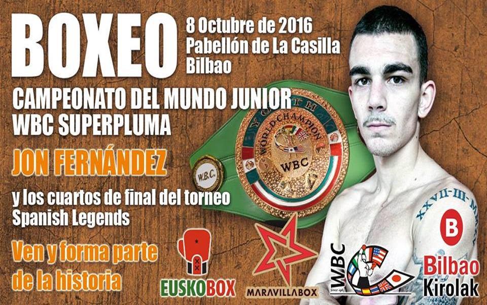 Boxeo en Bilbao, La Casilla, Jon Fernández pelea por el Campeonato del Mundo junior WBC el próximo 8 de octubre