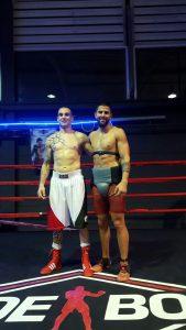 El bermeano Andoni Domínguez junto al campeón de Europa, Ferino V, tras una sesión de sparring previa a la disputa del título.