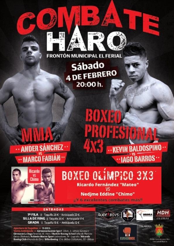 Cartel velada de Boxeo y MMA en Haro La Rioja 4 Febrero