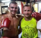 Jon Fernández y Petr Petrov ayer en el gimnasio de Tinín Rodríguez