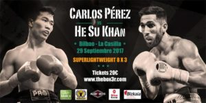 Carlos Pérez contra He Su Khan el 29 de septiembre en Bilbao