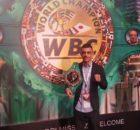 El boxeador vizcaíno, en el salón en el que se celebran las reuniones de la 55 convención anual del WBC-CMB