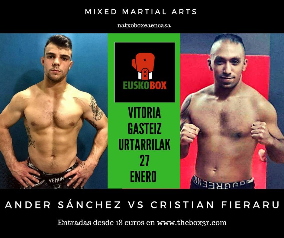MMA en Vitoria-Gasteiz el 27 de enero: Ander Sánchez vs Cristian Fieraru