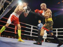 Boxeo profesional: el mirandés Kevin Baldospino ataca a Eduardo Cobos en el Iradier Arena de Vitoria Gasteiz