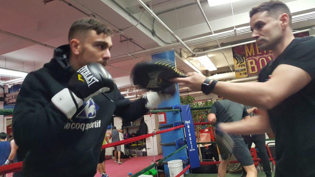 Jon Fernández y Tinín Rodríguez en Mendez Boxing ahace unas horas.