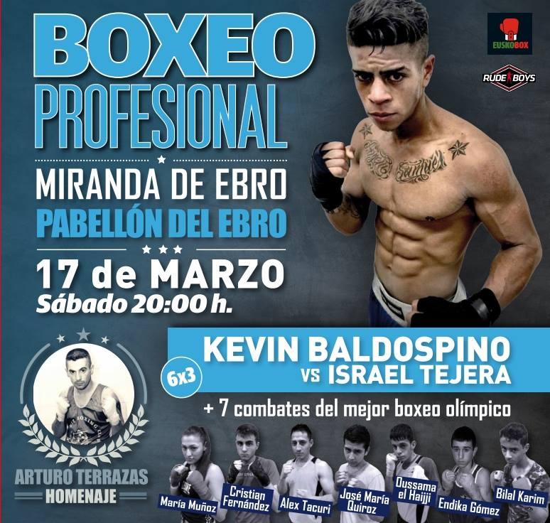 Cartel de la velda de boxeo y k1 del sábado 17 de marzo en Mirando de Ebro